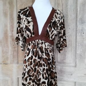 Leopard and Leather Silk Dress